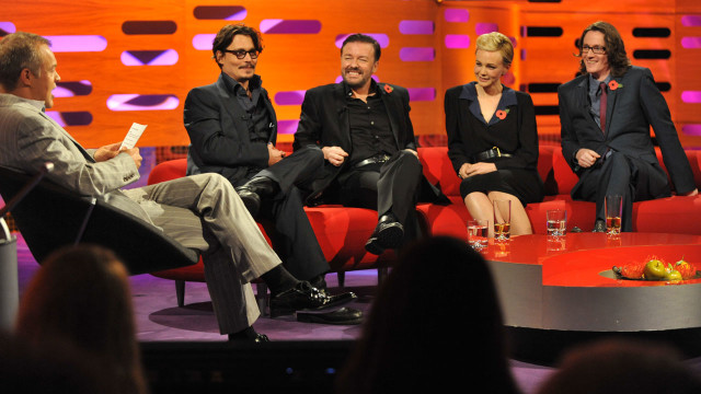 L-R: Graham Norton, Johnny Depp, Ricky Gervais, Carey Mulligan and Ed Byrne.