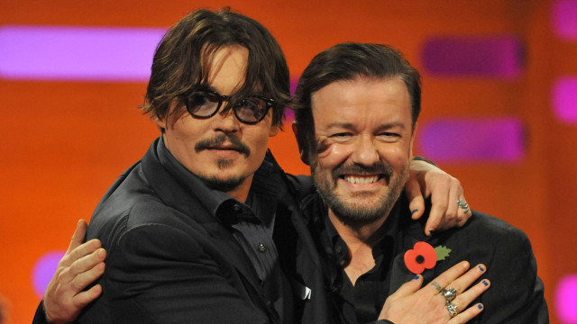 Johnny Depp and Ricky Gervais are all loved up on Graham's famous red couch.