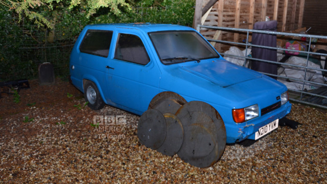 Both The Stig and American rally driver Ken Block famously rolled this Reliant Robin on the 'Top Gear' test track during Season 15. (Photo by Christopher Fetner)