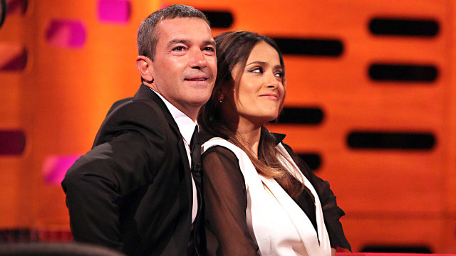 Longtime pals Antonio Banderas and Salma Hayek ham it up for the audience.