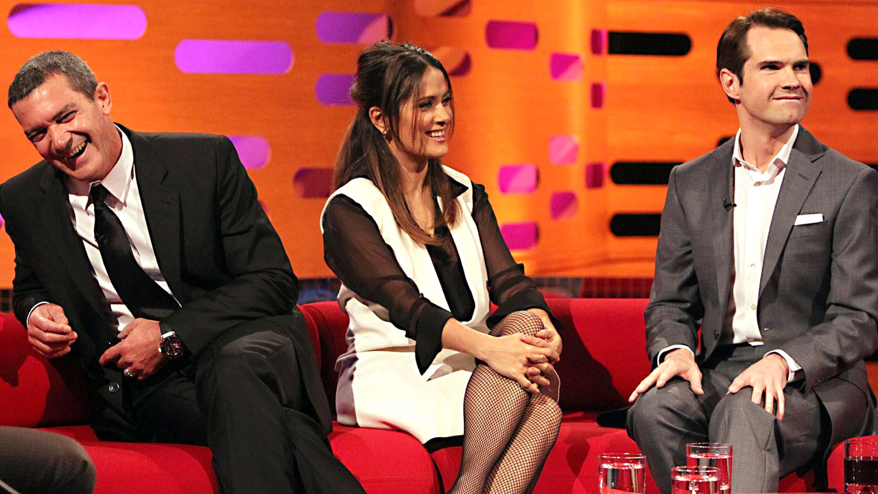 """Puss in Boots"" stars Antonio Banderas and Salma Hayek join British comedian Jimmy Carr on Graham's red couch during episode 6."