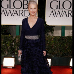 The three-time Globe winner did not contest any awards this year, turning up to present the DeMille Award to her Red co-star Morgan Freeman. (AP Photo/Matt Sayles)