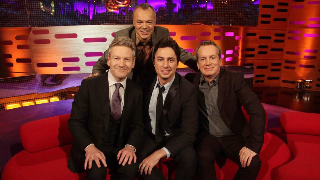 Graham's triple threat: Oscar-nominated actor/director Kenneth Branagh, actor Zach Braff and comedian Frank Skinner.