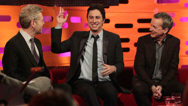 Zach Braff entertains Kenneth Branagh (L) and Frank Skinner (R).