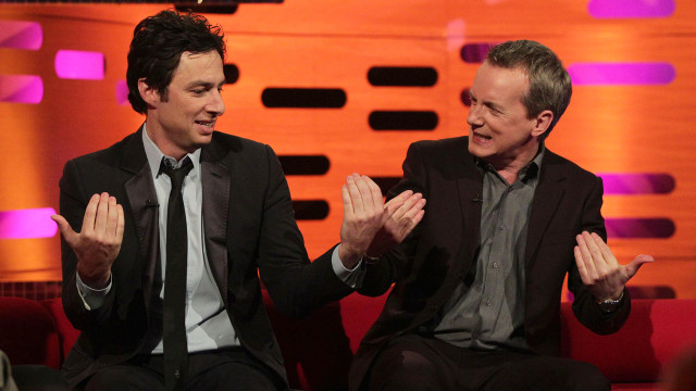 Guys goofing off: Zach Braff and Frank Skinner.