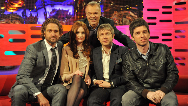 "Say ""cheese"" please: Gerard Butler, Karen Gillan, Martin Freeman and Noel Gallagher."