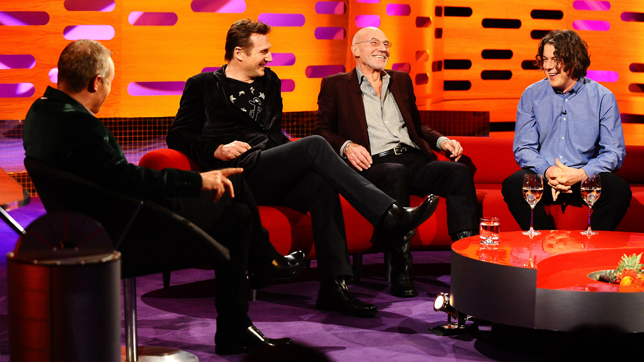 Graham chats with Liam Neeson, Sir Patrick Stewart and Alan Davies.