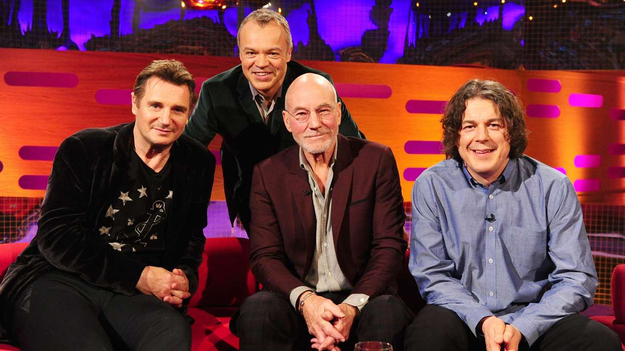 Graham's knigthly guests: Liam Neeson, Sir Patrick Stewart and Alan Davies.