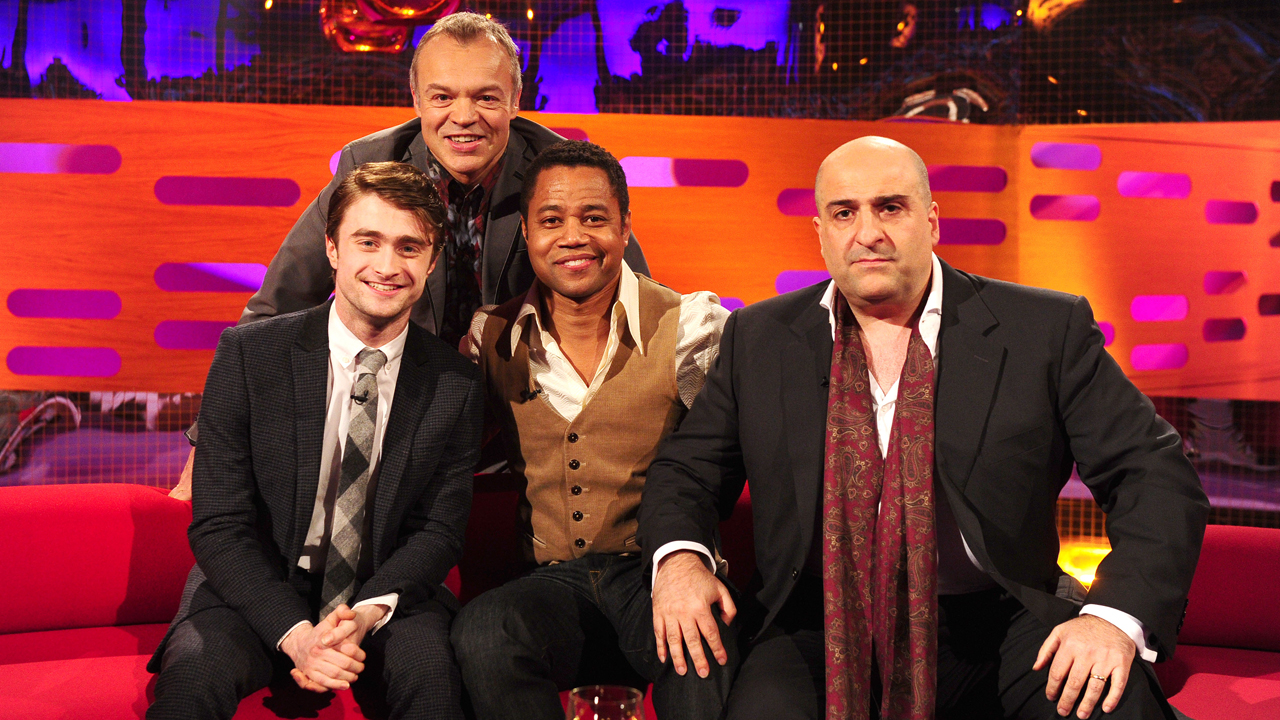Daniel Radcliffe, Cuba Gooding Jr. and Omid Djalili hang with Graham.