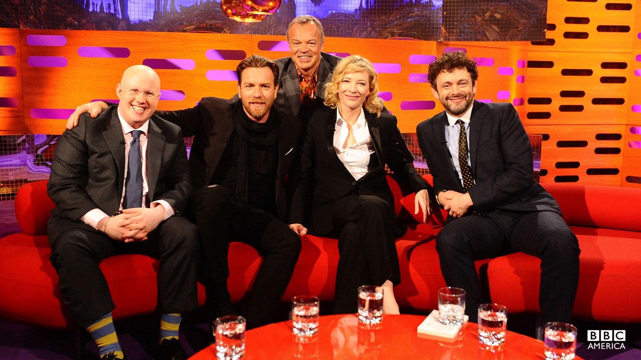 Matt Lucas, Ewan McGregor, Cate Blanchett and Micheal Sheen pose with Graham Norton.