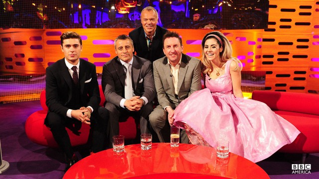 Zac Efron, Matt LeBlanc, Lee Mack and Marina and the Diamonds smile for the camera.