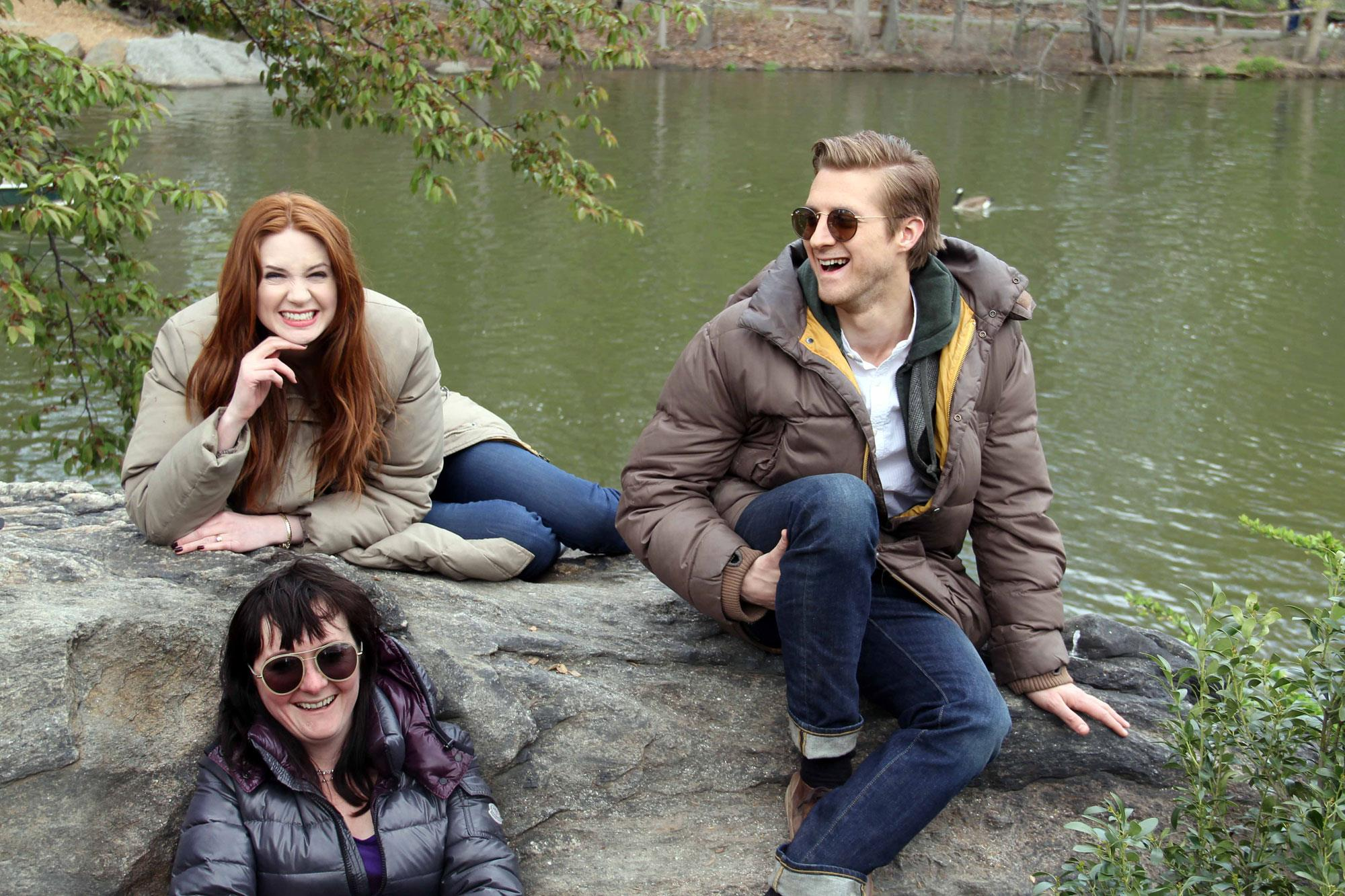 Karen Gillan, Arthur Darvill and Caroline Skinner take a rest in Central Park while filming for an upcoming 'Doctor Who' episode in New York City.