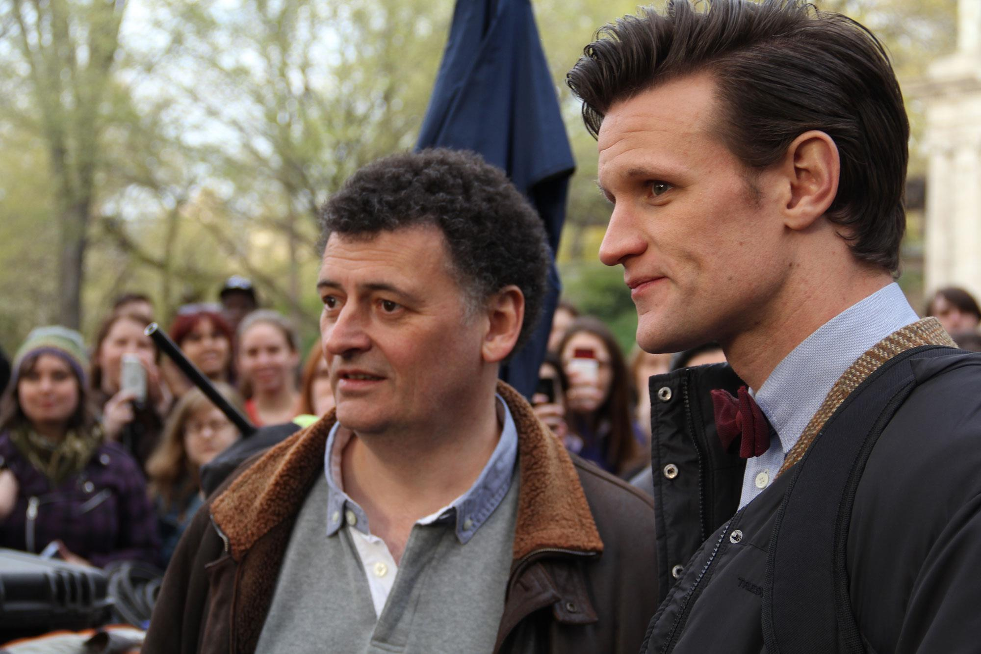 Central Park crowds look on as Steven Moffat and Matt Smith are hard at work shooting an upcoming episode in New York City.