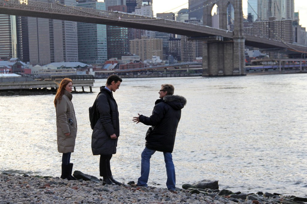 Matt Smith and Karen Gillan film a scene in Brooklyn, New York!