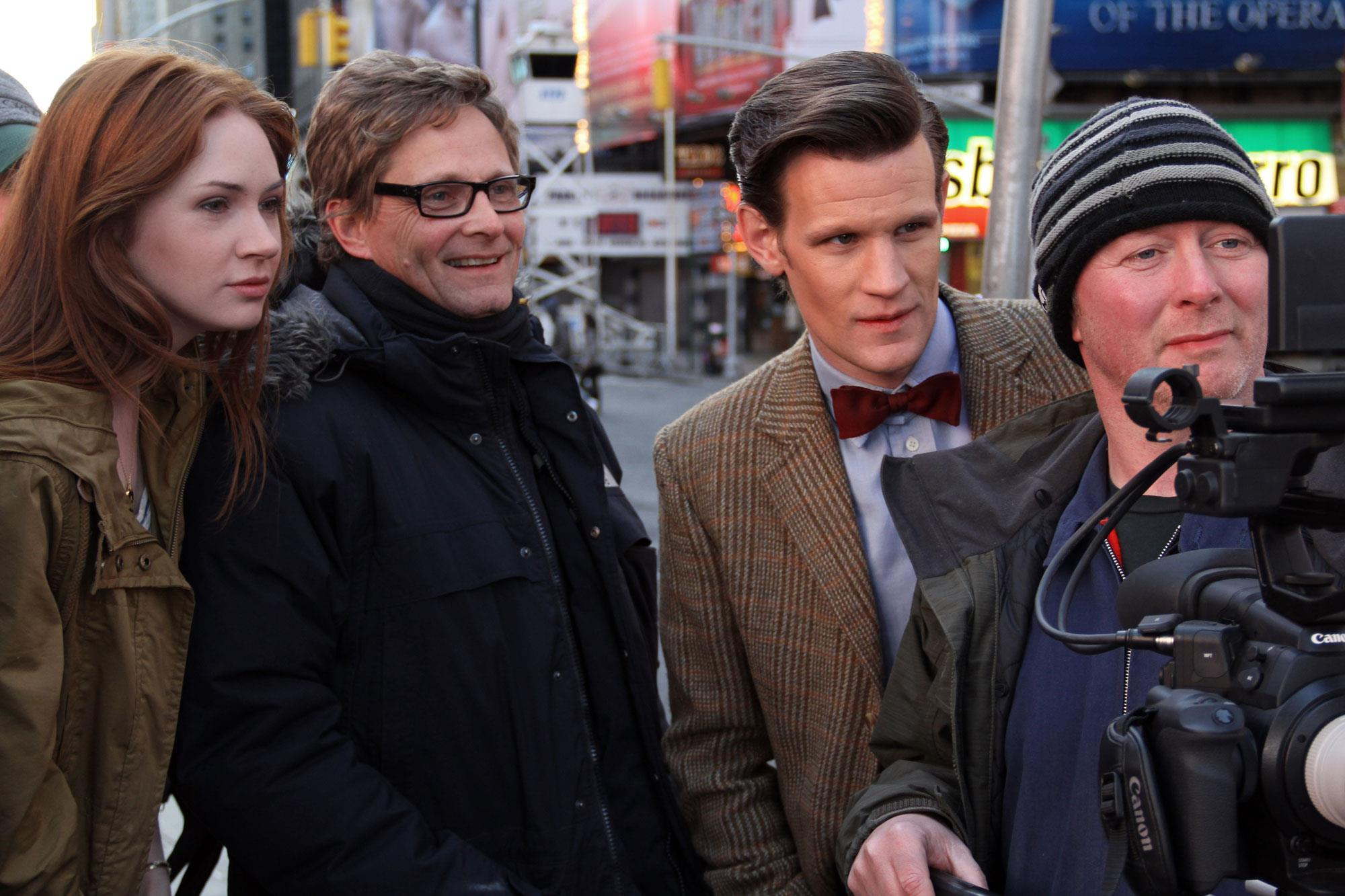 Matt Smith and Karen Gillan get in on the action in Times Square, New York City while filming an upcoming episode of 'Doctor Who.'