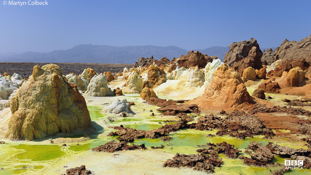 A view of hot springs at the Dallol volcano in Ethiopia.
