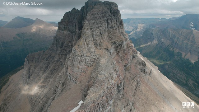 An aerial view of mountains in Glacier National Park, Montana.