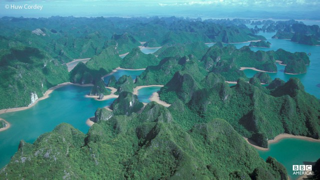 An aerieal view of Ha Long Bay, Vietnam.