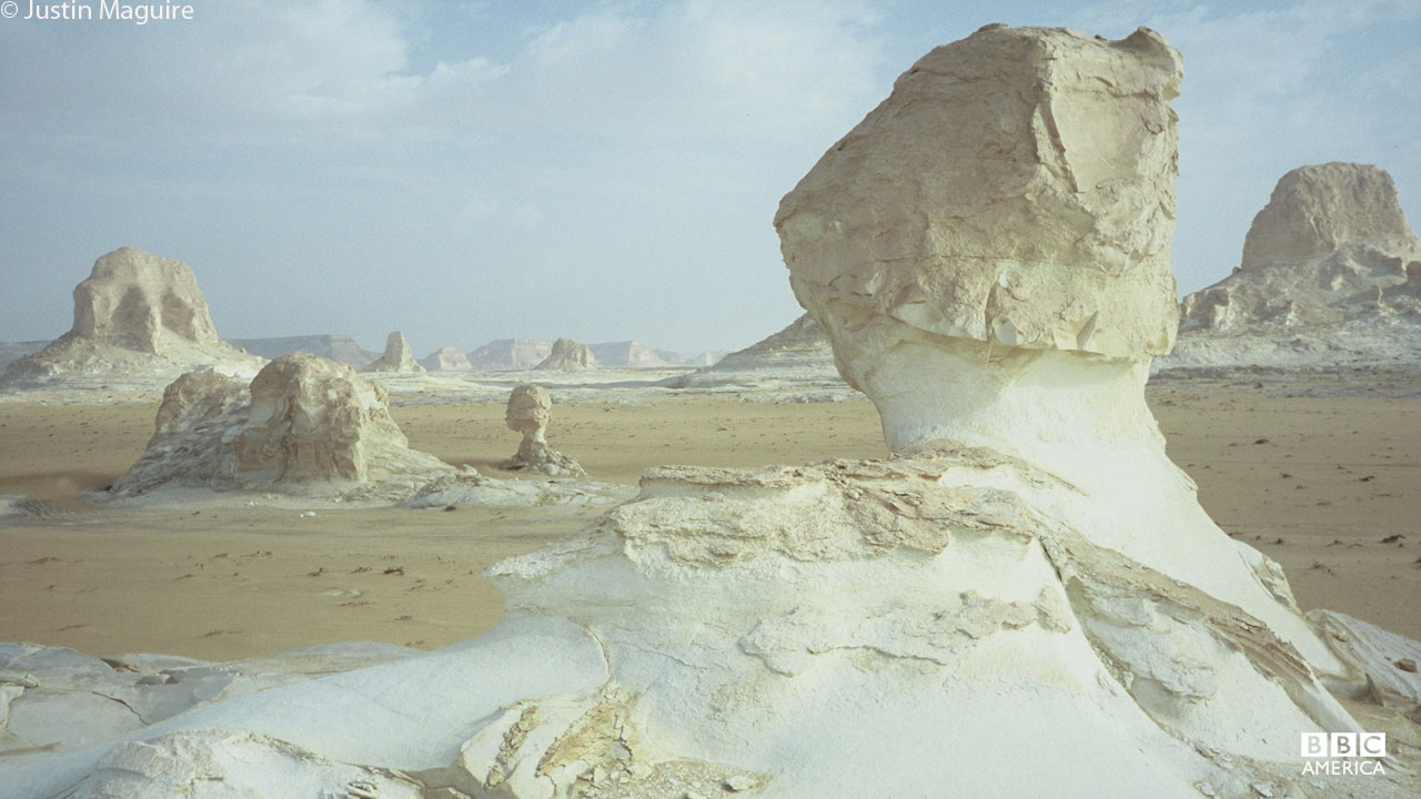 Yardang rock formations in Egypt.