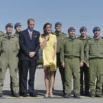 The royal couple poses with members of the Canadian Forces flight crew in Calgary, Alberta. (Nathan Denette, The Canadian Press/AP Images)