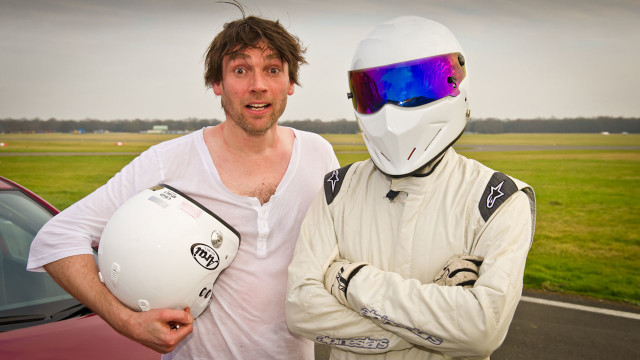 'Blur' bassist Alex James is stunned to be standing next to The Stig. Cue funny face #1.