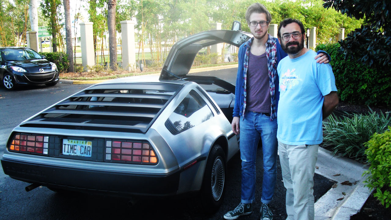 Arthur Darvil with Dan H's DeLorean