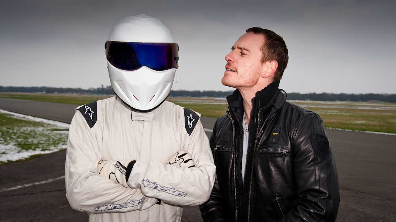 Michael Fassbender attempts to unravel The Stig's identity with his impressive magnetic 'X-Men' powers