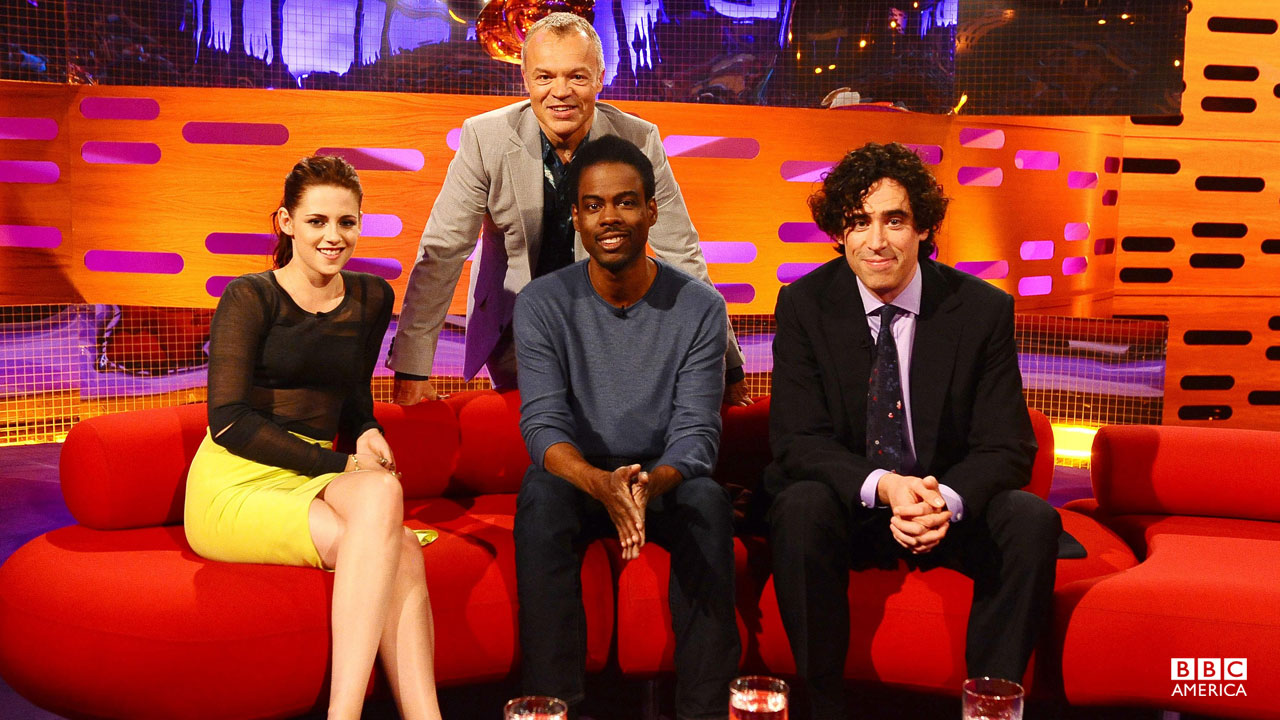 Actors Kristen Stewart, Chris Rock and Stephen Mangan on Episode 4.