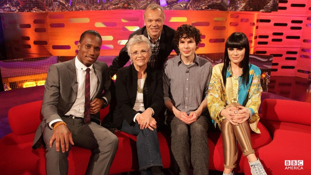 Footballer Didier Drogba, actress Julie Walters, comic Simon Amstell and pop star Jessie J join Graham for episode 3.