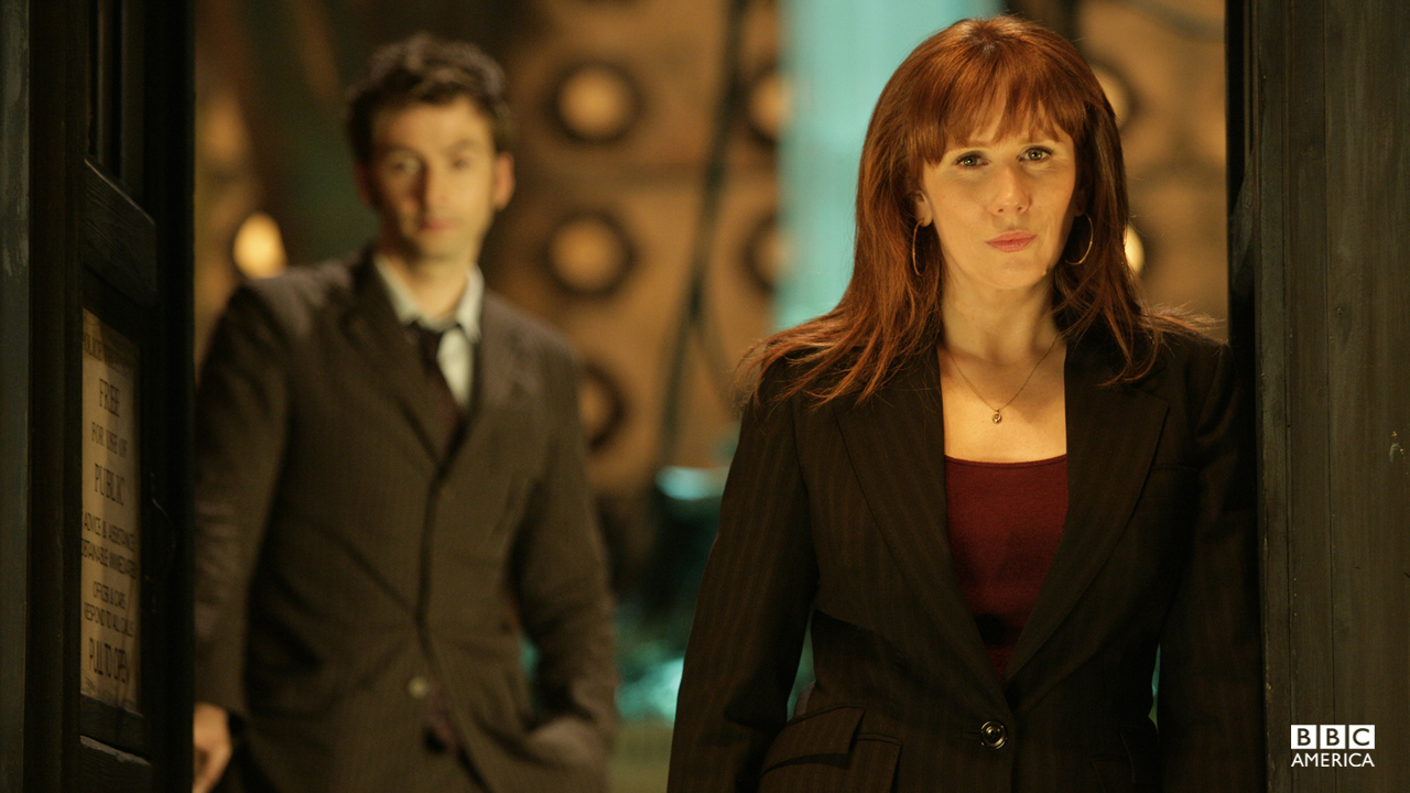 "Donna Noble (Catherine Tate)  While many companions become romantically involved with the Doctor, Donna Noble was always considered his best pal. Aside from a misunderstanding (""I want to mate""  ""I just want a mate"") and a kiss to save the Doc from cyanide poisoning, the duo's relationship remained strictly platonic. But as for her adventures – Donna doesn't remember a thing. The Doctor was forced to wipe her memories when she became a Time Lord and her brain overloaded."