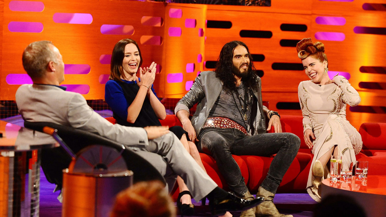 Russell Brand has fun teasing his fellow guests.