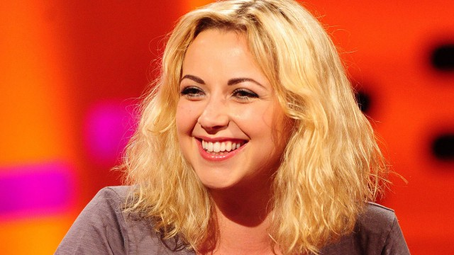 Charlotte Church on the famous red couch.