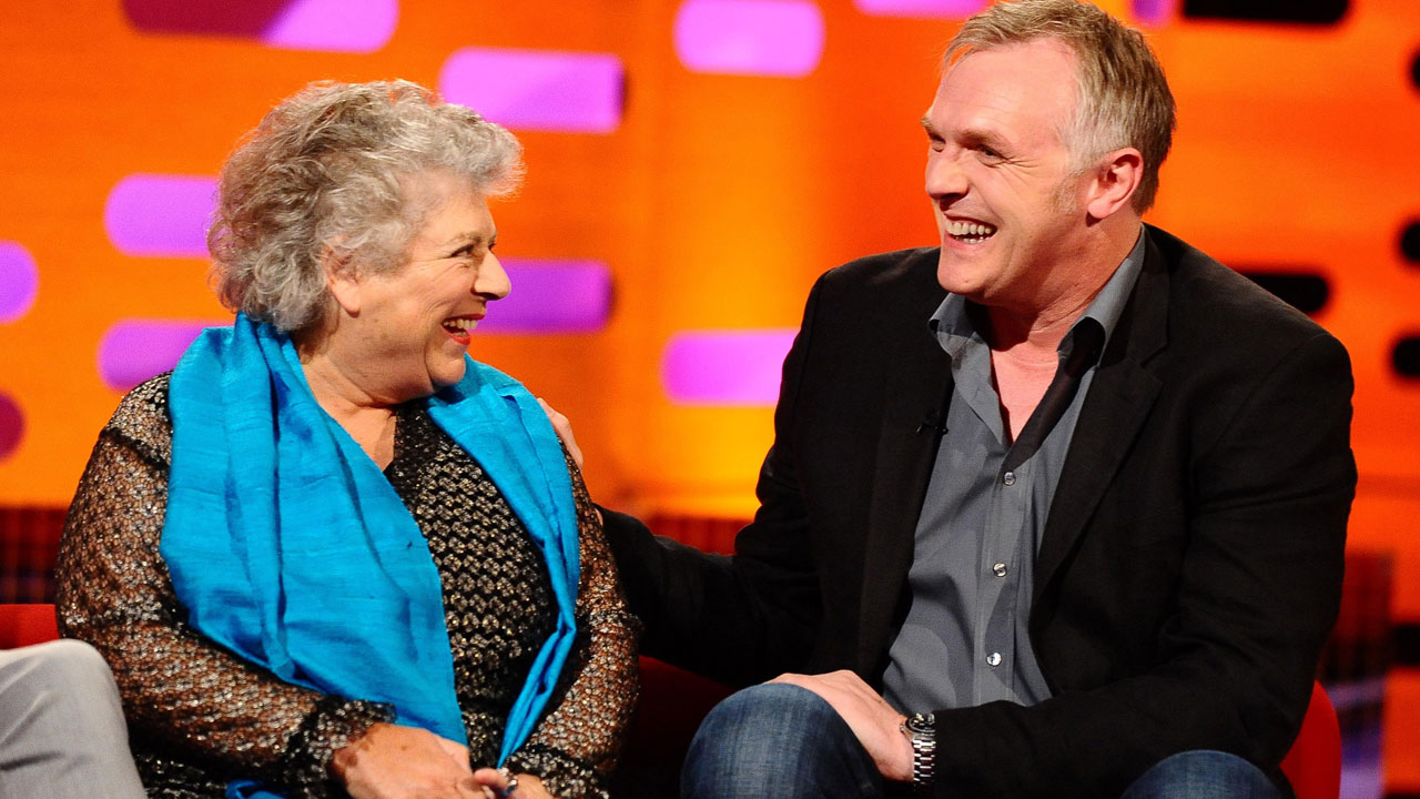Miriam Margolyes and Greg Davies on Graham's famous red couch.