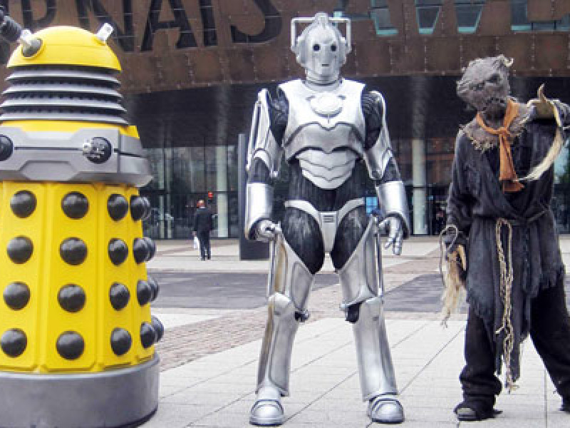 A dalek, a cyberman and a scarecrow