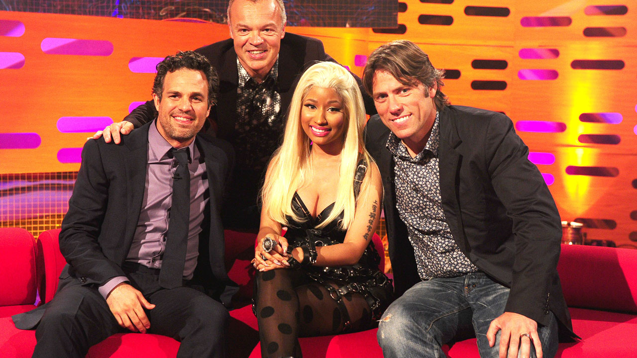 Graham Norton welcomes Hollywood star,Mark Ruffalo, and glamorous rapper Nicki Minaj, and comedian John Bishop.