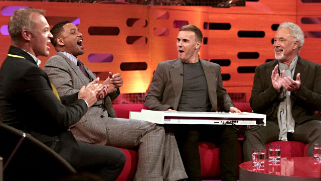 Will Smith and Gary Barlow have a 'Fresh Prince of Bell-Air' sing-a-long.