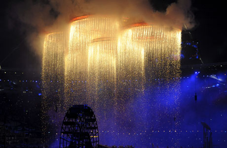 The blazing hoops at the opening ceremony of the London Games (AP Features)