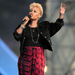Scottish singer Emeli Sandé, winner of the Critics' Choice BRIT Award this past year, performed two songs.  (Press Association via AP Images)