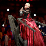 "Annie Lennox brought a bit of Pirates chic to the ceremony with a campy performance of ""Little Bird."" (Rex Features via AP)"