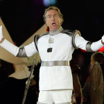Monty Python member Eric Idle roused the stadium with a cheeky number. (AP Photo/Kristy Wigglesworth)