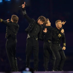 "Take That performed near the end of the ceremony, singing their hit ""Rule The World.""  (AP Photo/Matt Slocum)"
