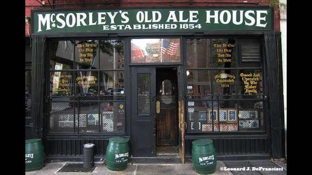 "McSorley's Old Ale House This rough and tumble East Village ale house has two mottos: ""Be good or be gone"" and ""We were here before you were born."" McSorley's maintained a men only policy for nearly 120 years, until they were legally required to serve women in 1970.  Stop in and imagine drinking a cold one with some of the bar's notable patrons, including Abraham Lincoln, Teddy Roosevelt, Peter Cooper, and Boss Tweed."