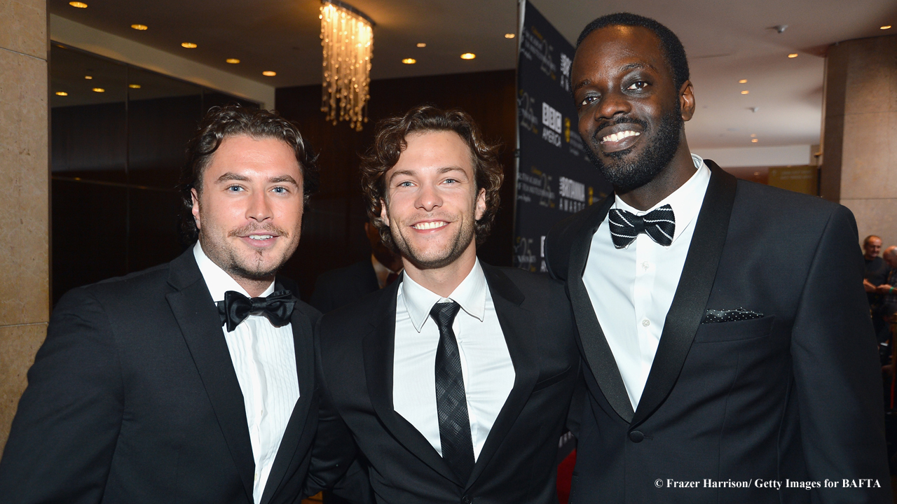 Kevin Ryan, Kyle Schmid, and Ato Essandoh are all smiles inside the Beverly Hilton before the show starts.