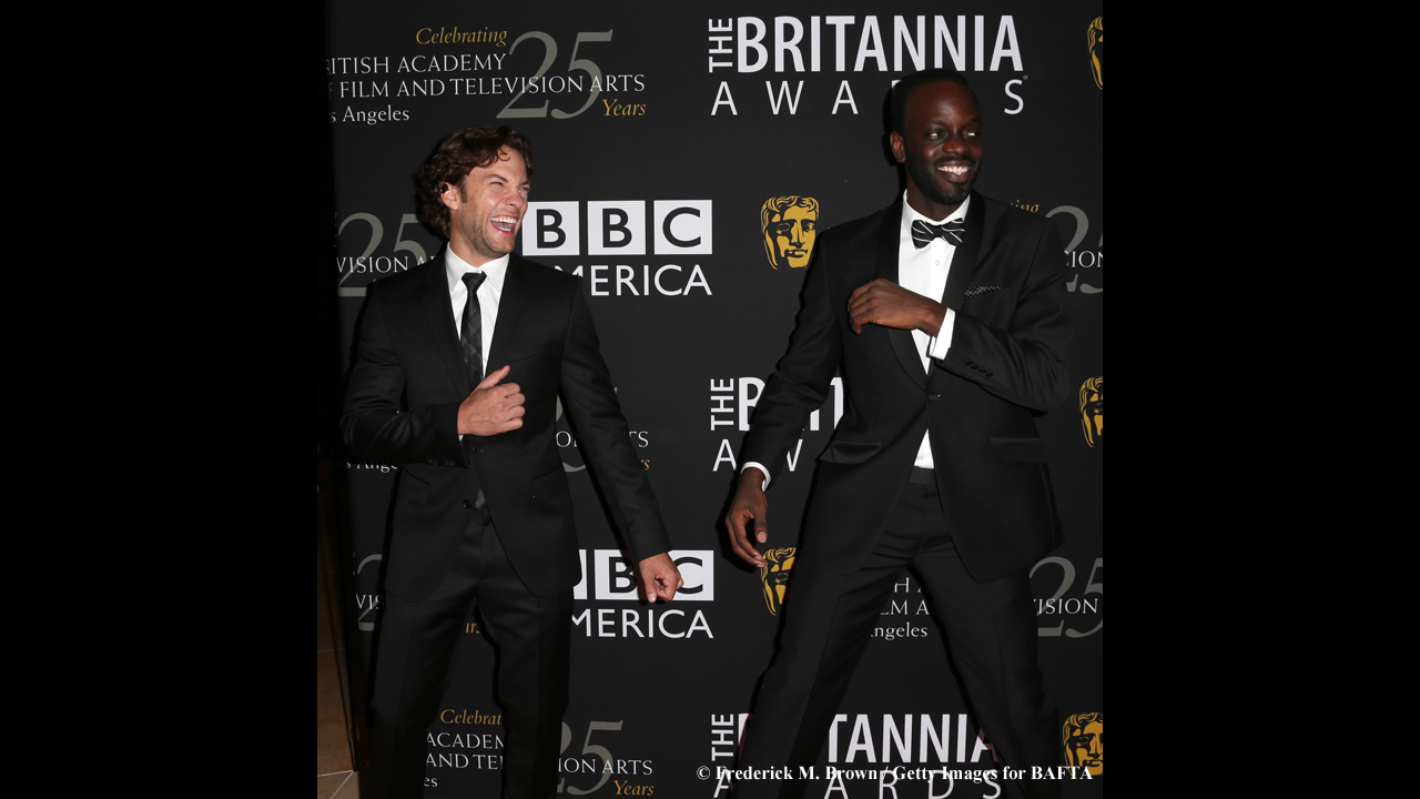 Co-stars Kyle Schmid and Ato Essandoh have some fun before the show.