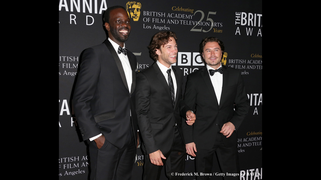 Ato Essandoh, Kyle Schmid, and Kevin Ryan are ready to party.