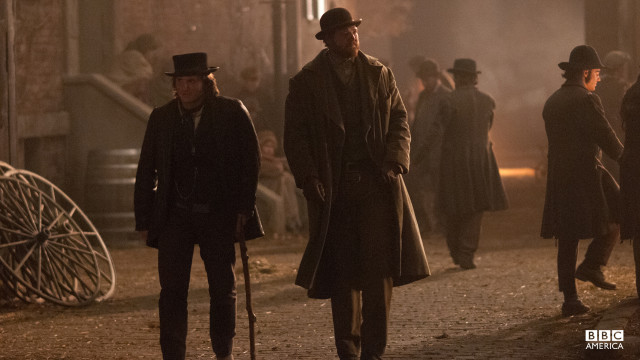 The injured Kevin Corcoran and fellow detective, Andrew O'Brien, are spotted on the streets of Five Points.