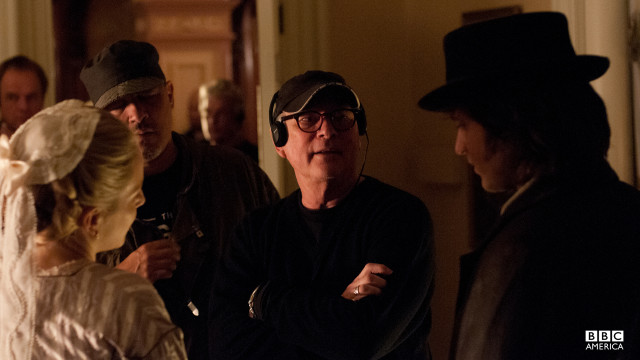 Co-creator Barry Levinson works on a scene with Anastasia Griffith and Tom Weston-Jones.