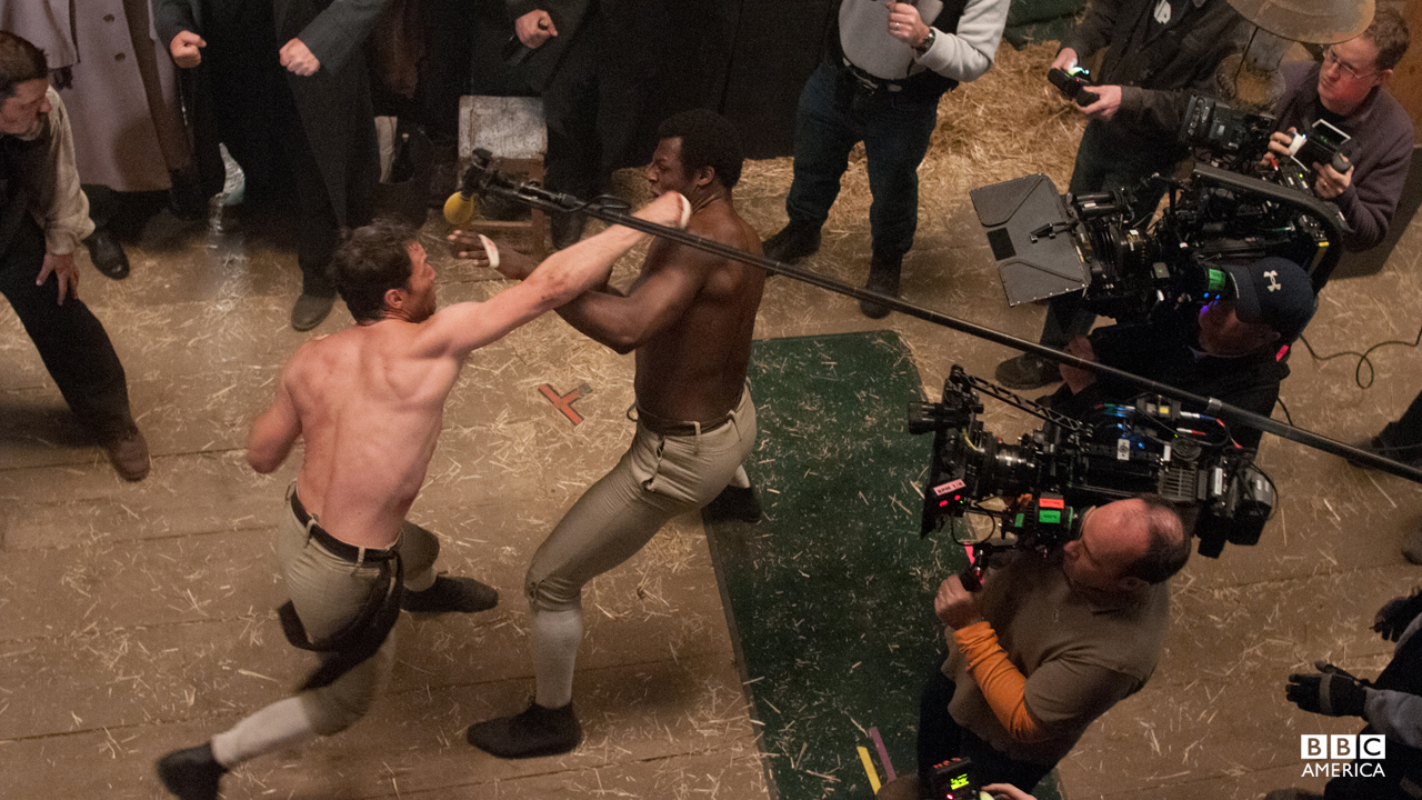 No cameramen were harmed during the filming of this fight scene.