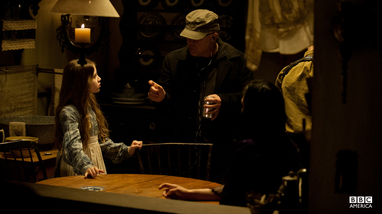 Kiara Glasco works on a scene with Franka Potente.