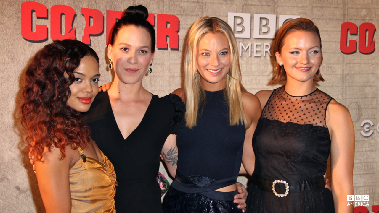 "Introducing the ladies of ""Copper,"" Tessa Thompson, Franka Potente, Anastasia Griffith, and Tanya Fischer."